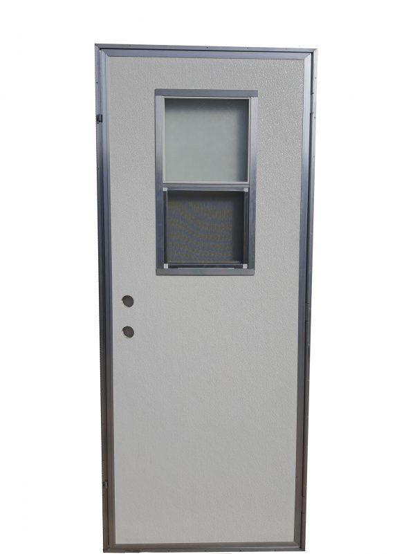 Out-Swing Exterior Door With Vertical Sliding Window